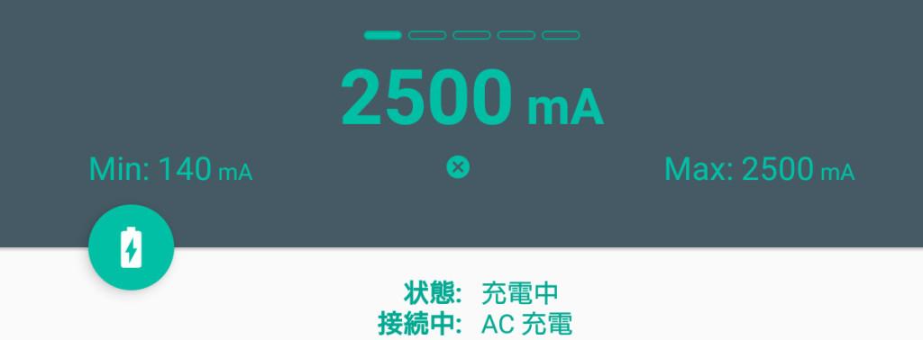 2500maで急速充電