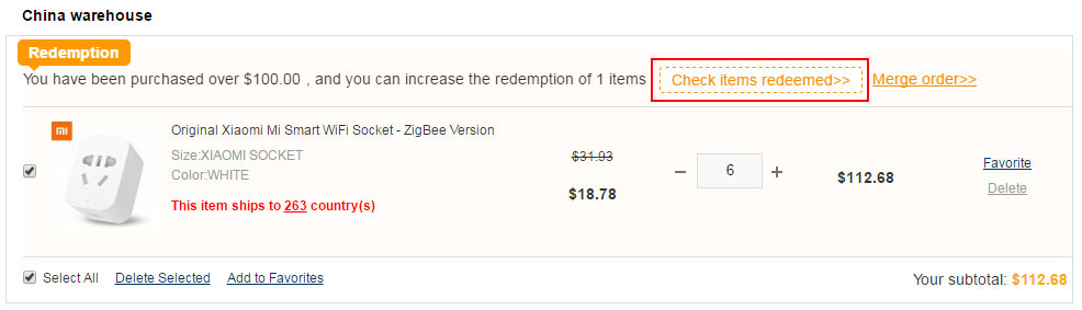 Check items redeemed