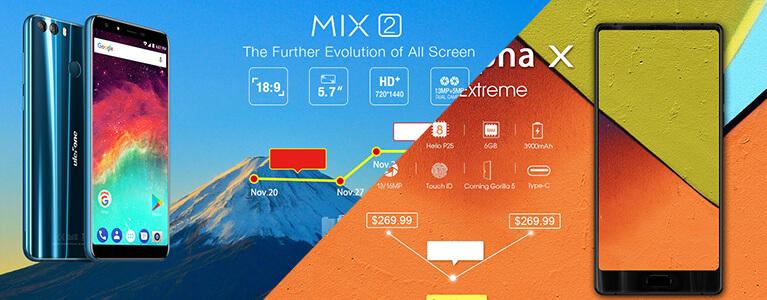Ulefone Mix 2・MAZE Alpha Xがセール価格で販売中。ベゼルレスが1万円から