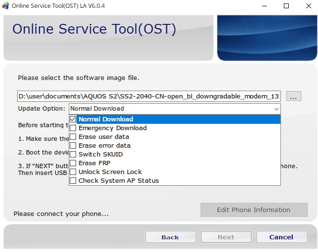 Online Service Tool (OST)