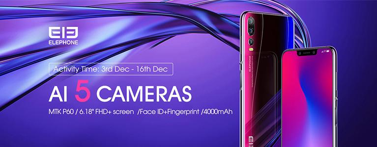 トリプルカメラのElephone A5が$199.99から。Helio P60・4,000mAhバッテリーにサイド指紋認証も