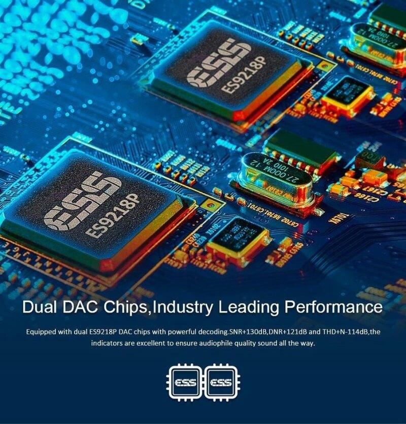 デュアルES9218P DAC搭載