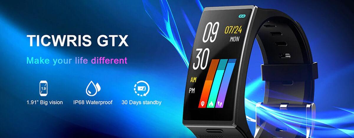 Ticwris GTX - 曲面&長方形画面スマートウォッチが3,940円に。血圧の計測にも対応、IP68防水