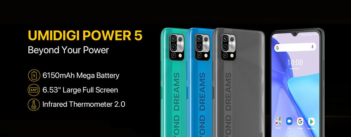 UMIDIGI Power 5発売。6150mAhバッテリー、非接触体温計付きで$94.99~の激安スマホ